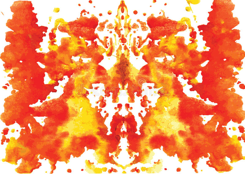 Watercolor symmetrical Rorschach blot. On a white background royalty free illustration