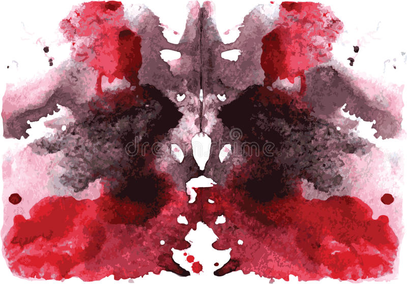 Watercolor symmetrical Rorschach blot vector illustration