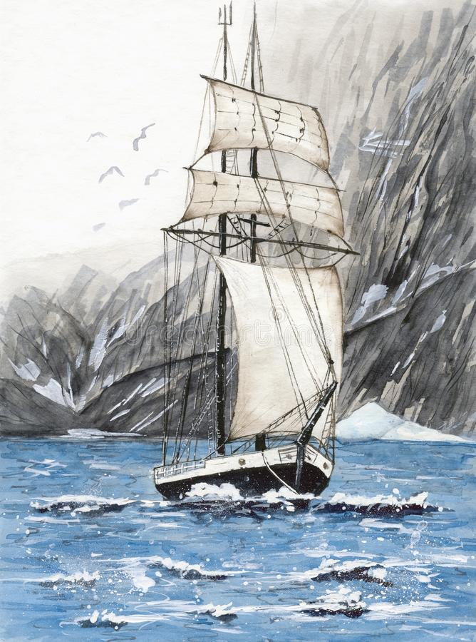 Watercolor tall ship with mountains royalty free illustration