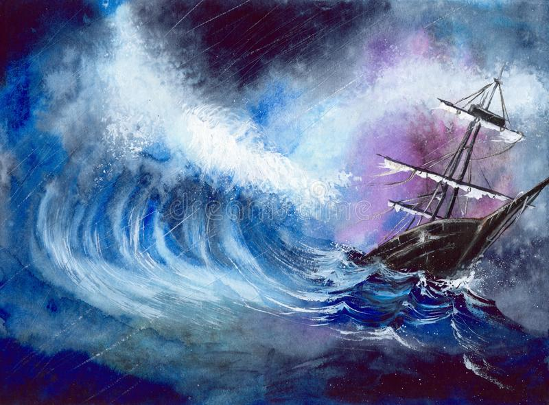 Watercolor tall ship in the storm stock illustration