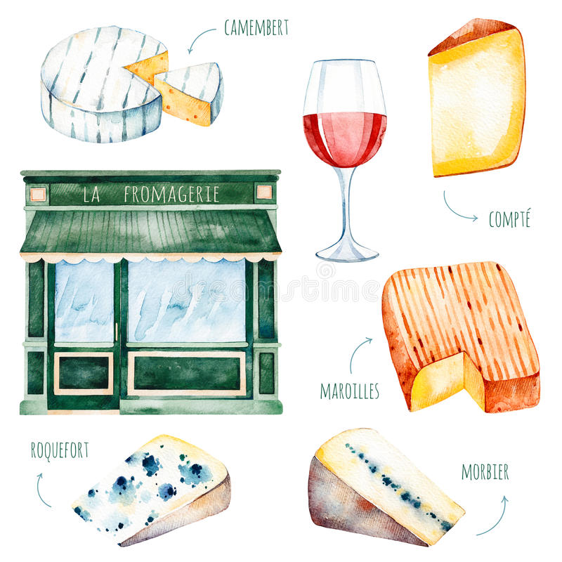 Watercolor tasty collection with different french cheese royalty free illustration