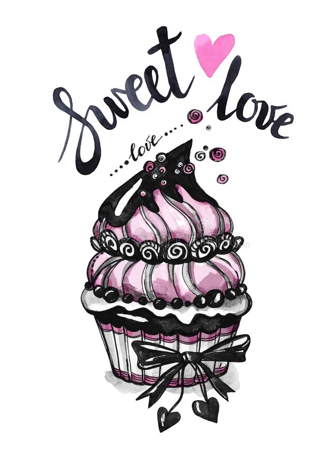 Watercolor tasty dessert. Congratulation card with pleasant words. Original hand drawn illustration. Sweet food. Holiday. Watercolor tasty dessert vector illustration