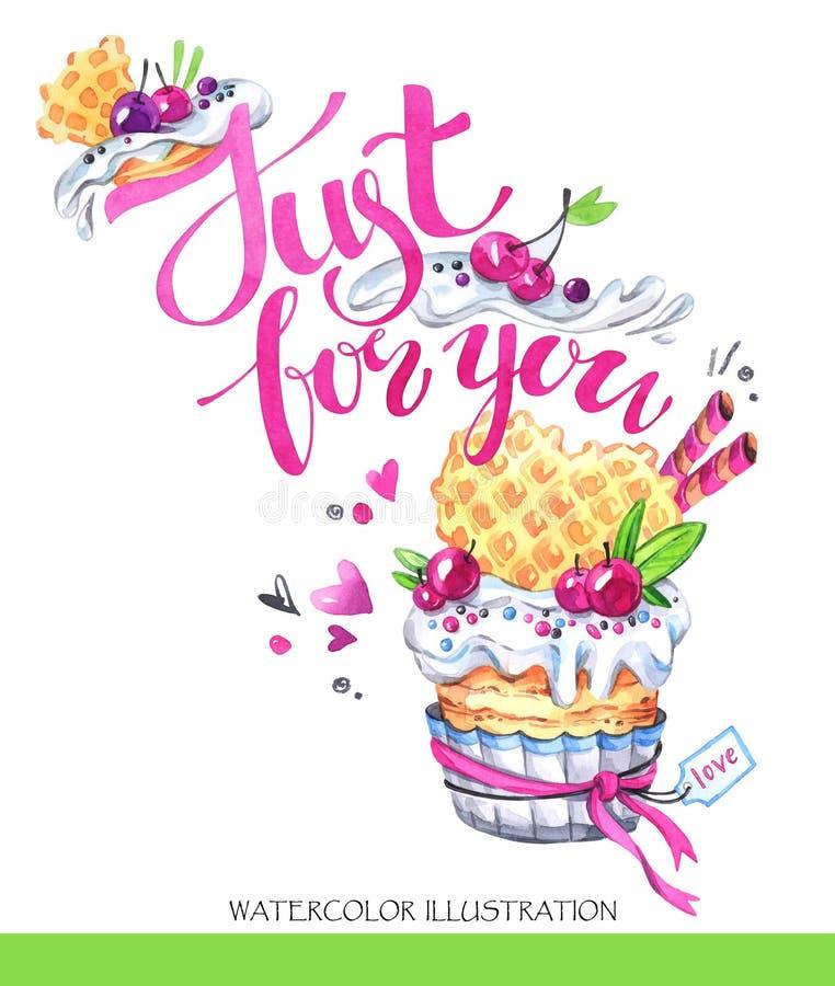 Watercolor tasty dessert. Congratulation card with pleasant words. Original hand drawn illustration. Sweet food. Holiday. Watercolor tasty dessert stock illustration