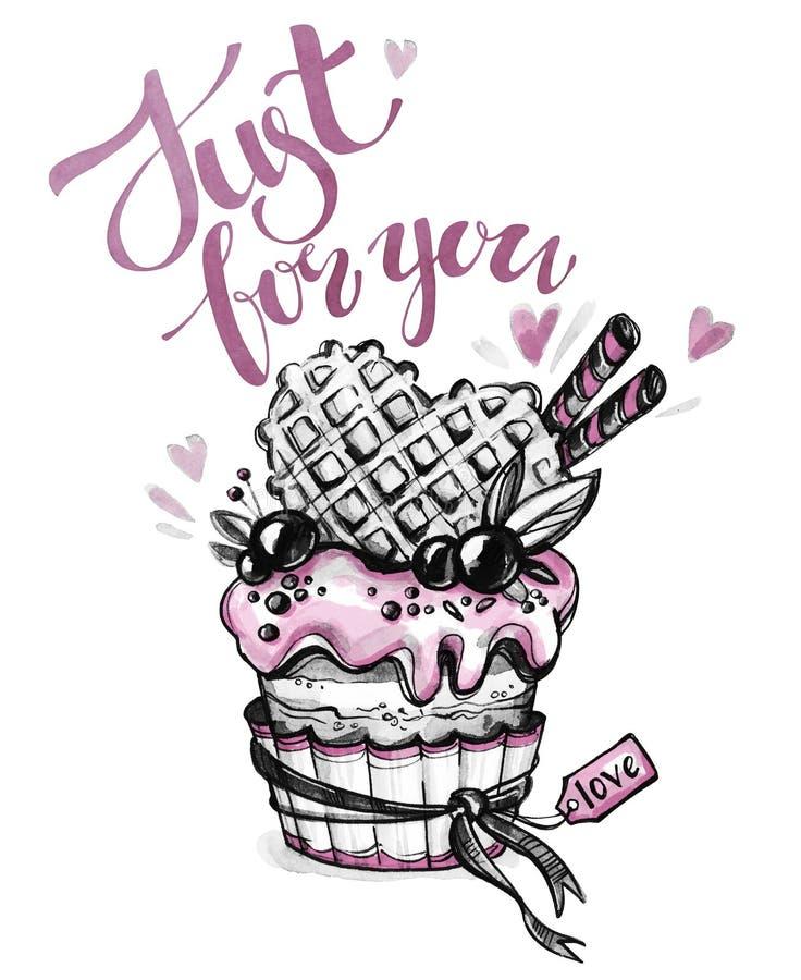 Watercolor tasty dessert. Congratulation card with pleasant words. Original hand drawn illustration. Sweet food. Holiday. Watercolor tasty dessert royalty free illustration