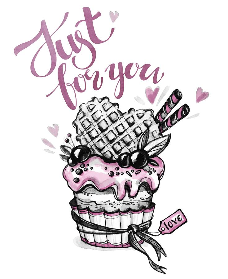 Free Watercolor Tasty Dessert. Congratulation Card With Pleasant Words. Original Hand Drawn Illustration. Sweet Food. Holiday Royalty Free Stock Image - 100590036