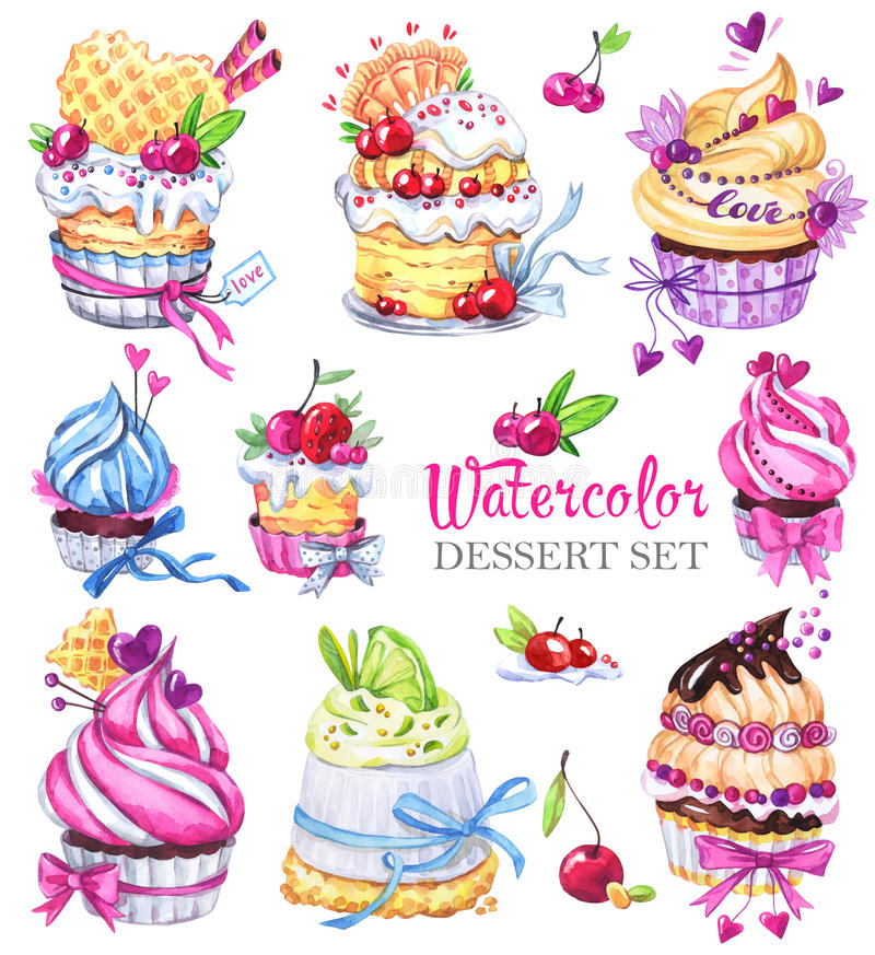 Watercolor tasty dessert set. Original hand drawn illustration. Colorful tasty picture. Lovely sweet collection for you. Watercolor tasty dessert set. Original vector illustration