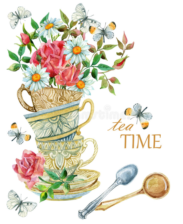 Watercolor tea cups background with spoon, flowers and butterfly. Tea crockery in victorian style. Hand painted illustration for your design royalty free illustration