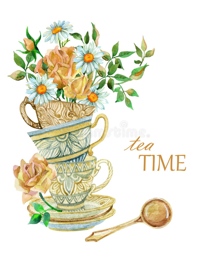 Watercolor tea cups background with spoon and flowers. Tea crockery in victorian style. Hand painted illustration vector illustration