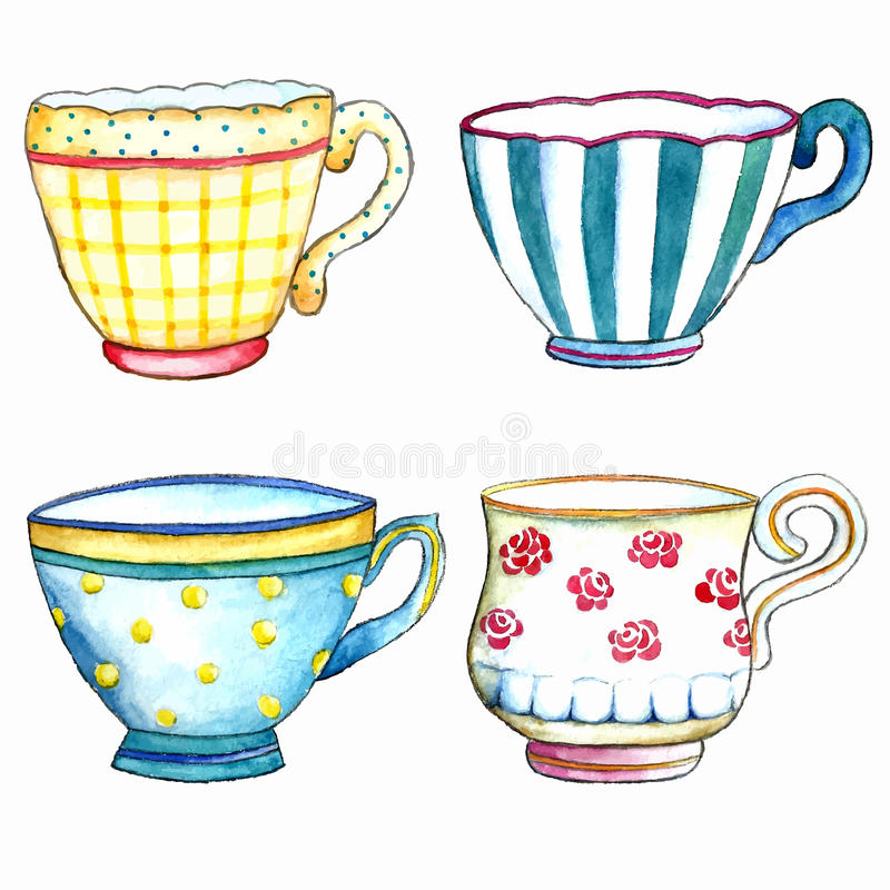 Watercolor tea cups. stock images