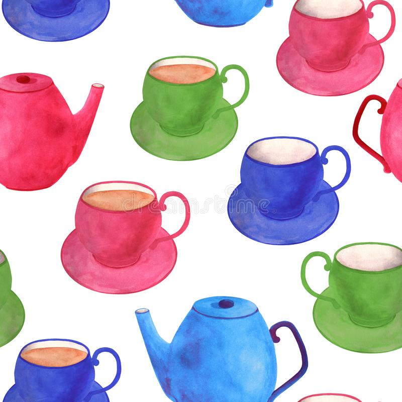 Watercolor tea seamless pattern. Hand drawn colorful bright pink, blue, green teapot, cup with saucer isolated on white. Background. Illustration for food royalty free stock photo