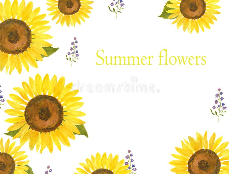 Watercolor template with sunflowers for invitations, fliers, cards royalty free illustration