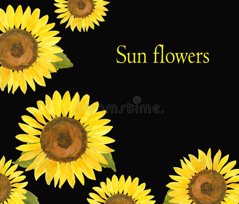 Watercolor template with sunflowers for invitations, fliers, cards vector illustration