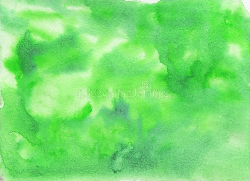 Watercolor texture for background or design. In green colors, handmade stock illustration