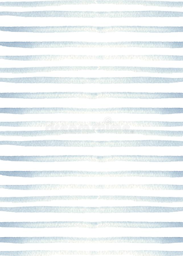 Watercolor texture with blue stripes. Marine design. stock illustration