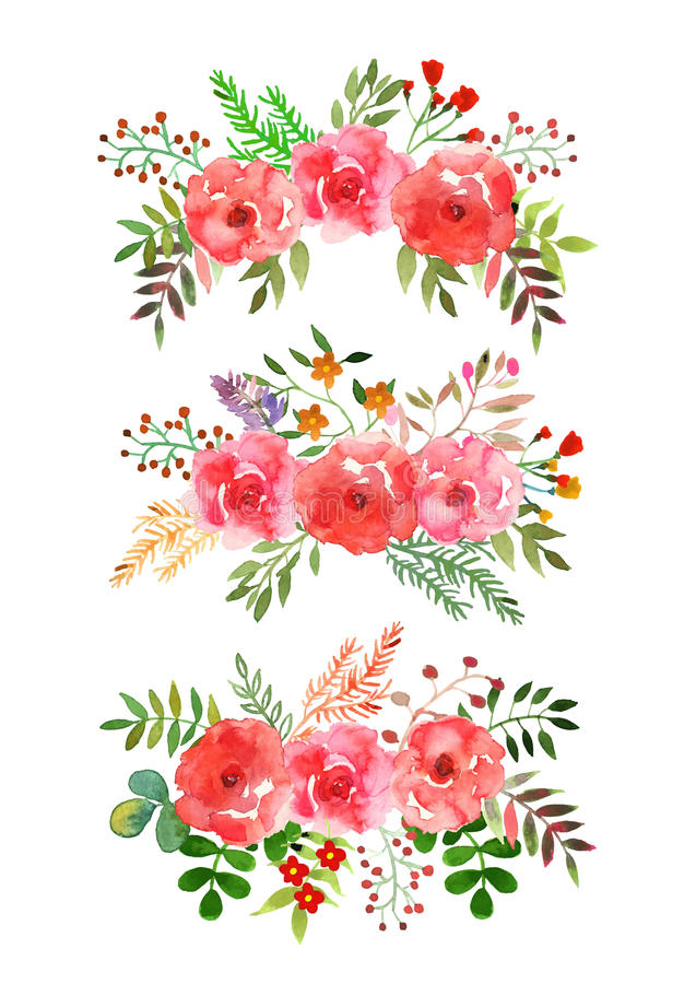 Watercolor Texture. Vector flowers set. Colorful floral collection with leaves and flowers, drawing watercolor.Design for invitation, wedding or greeting cards