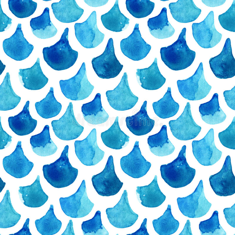 Watercolor textured fish scale seamless pattern. vector illustration