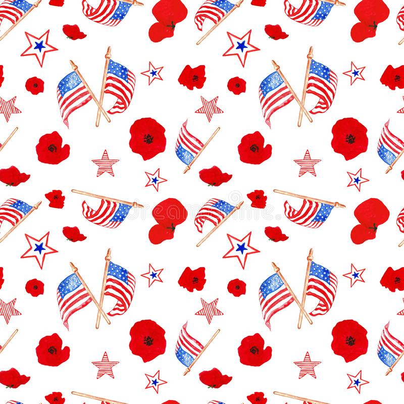 Watercolor 4th of july seamless pattern in red, blue and white colors of US flag. Traditional symbols of memorial day, isolated royalty free illustration