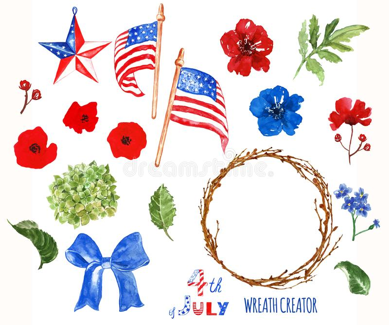 Watercolor patriotic wreath creator. 4th of july symbols, isolated on white background. USA flags, poppies stock photography