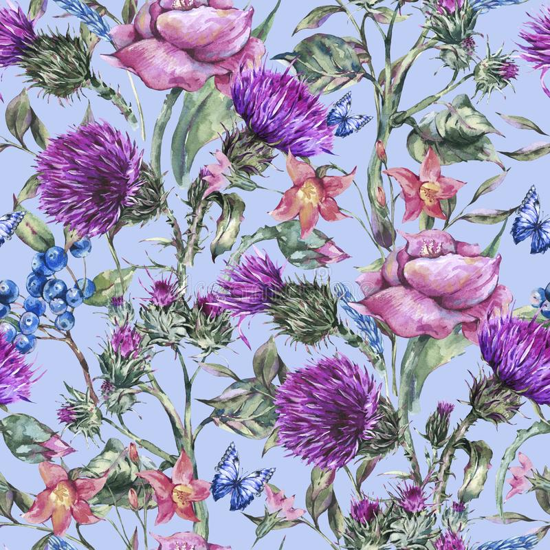 Watercolor thistle, poppy, blue butterflies, wild flowers seamless pattern, meadow herbs vector illustration