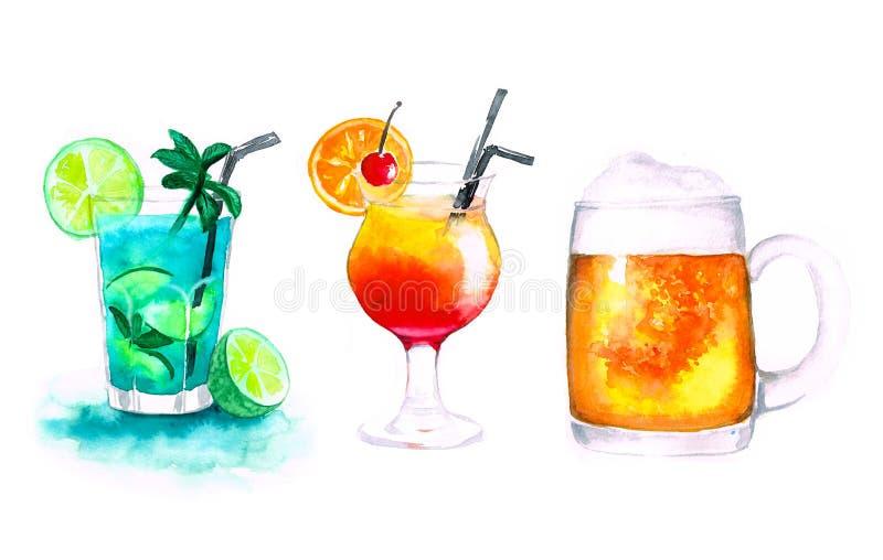 Watercolor three alcohol drinks mojito beer and sunrise. Watercolor three alcohol cocktails mojito beer and sunrise on white background royalty free stock photos