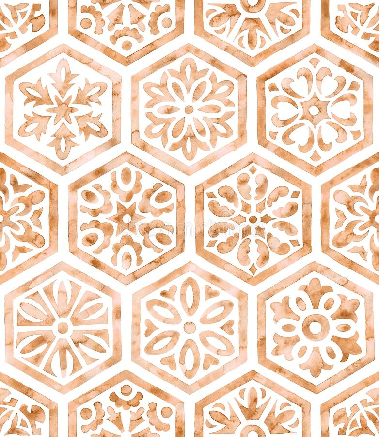 Free Watercolor Tiles Seamless Pattern. Hexagons Isolated On White Background. Bohemian Print For Textiles, Packaging Royalty Free Stock Photo - 214331275