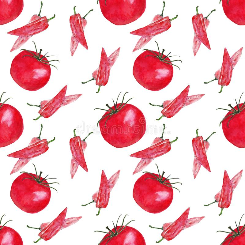 Watercolor tomato peppers vegetable seamless pattern vegetables royalty free illustration