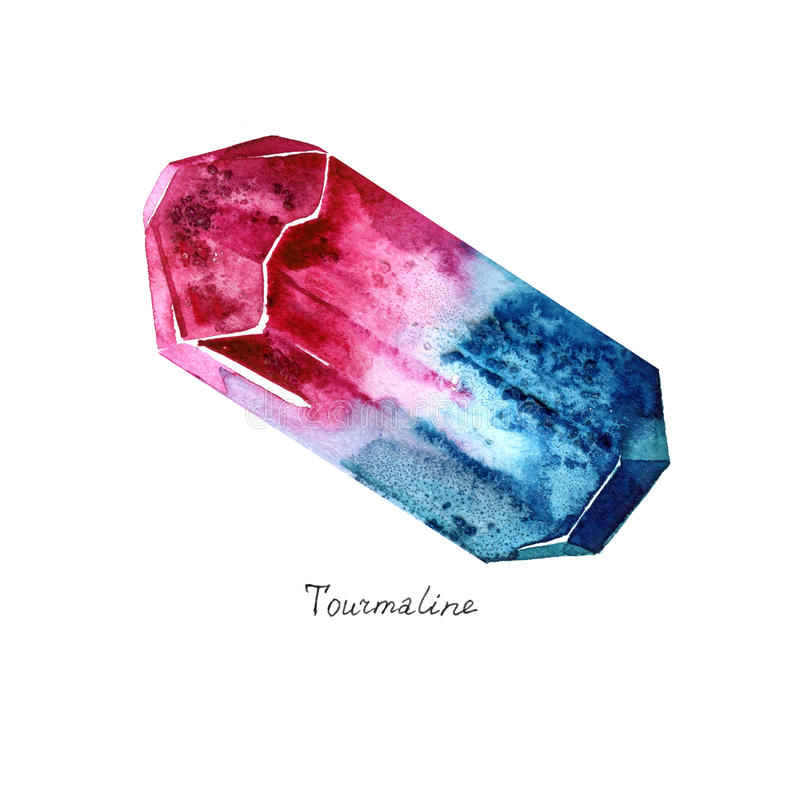 Watercolor Tourmaline Ημιπολύτιμο κρύσταλλο συρμένος εικονογράφος απεικόνισης χεριών ξυλάνθρακα βουρτσών ο σχέδιο όπως το βλέμμα  ελεύθερη απεικόνιση δικαιώματος