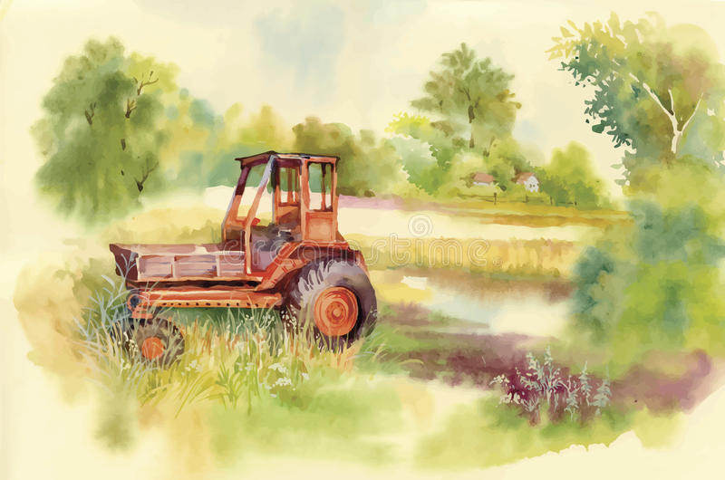 Watercolor tractor Machine in yard. Equipment on the village. Vector illustration. Watercolor tractor Machine in yard. Equipment in the village. Vector royalty free illustration