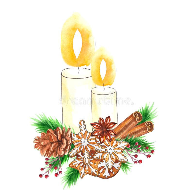 Watercolor traditional decoration with candle and Christmas decor vector illustration