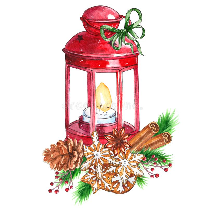 Watercolor traditional red lantern with candle and Christmas decor royalty free illustration