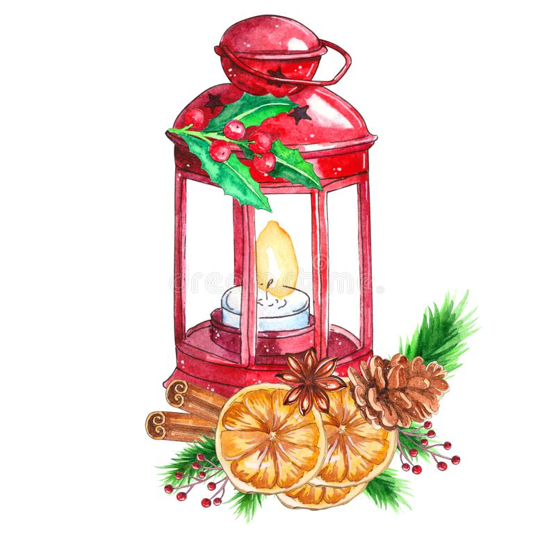 Watercolor traditional red lantern with candle and Christmas decor stock illustration