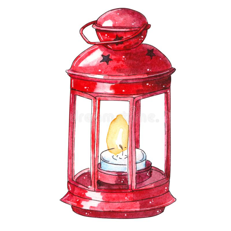 Watercolor traditional red lantern with candle royalty free illustration