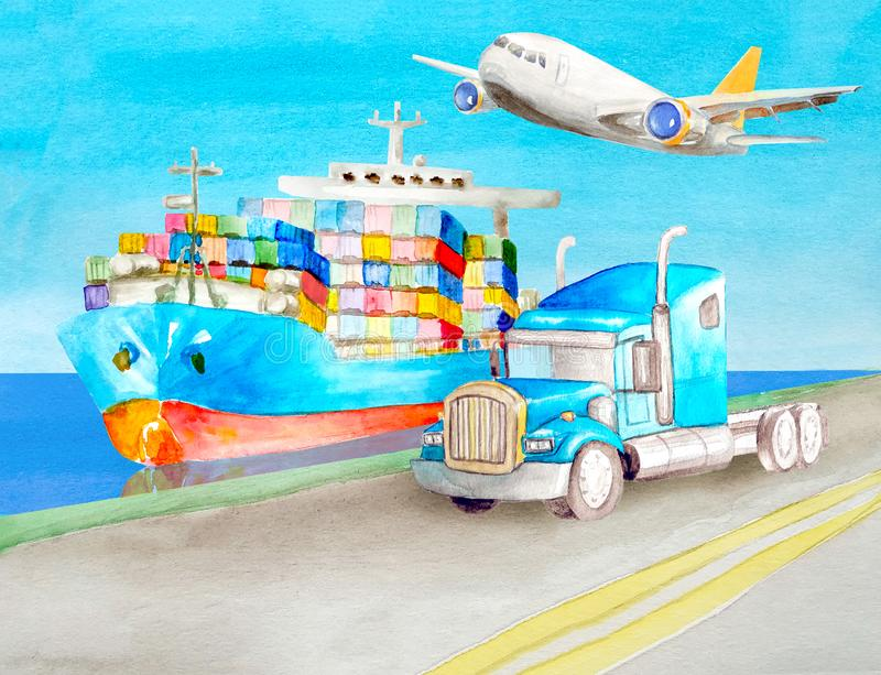Watercolor transport concept of a blue container truck and a blue American semi-trailer tractor without a body against the. Watercolor transport concept of a royalty free illustration