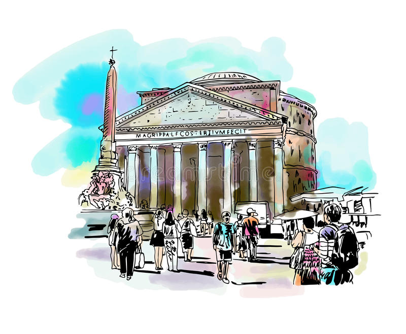 watercolor travel card from Rome Italy, old italian imperial building Pantheon vector illustration