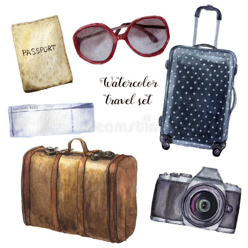 Watercolor travel set. Hand painted tourist objects set including passport, ticket, leather vintage suitcase, polka dot stock illustration