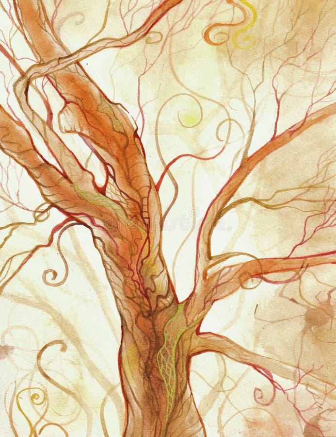 Watercolor tree vector illustration