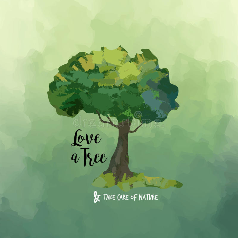 Nature Images With Quotes Download: Watercolor Tree Art And Love Quote For Nature Help Stock