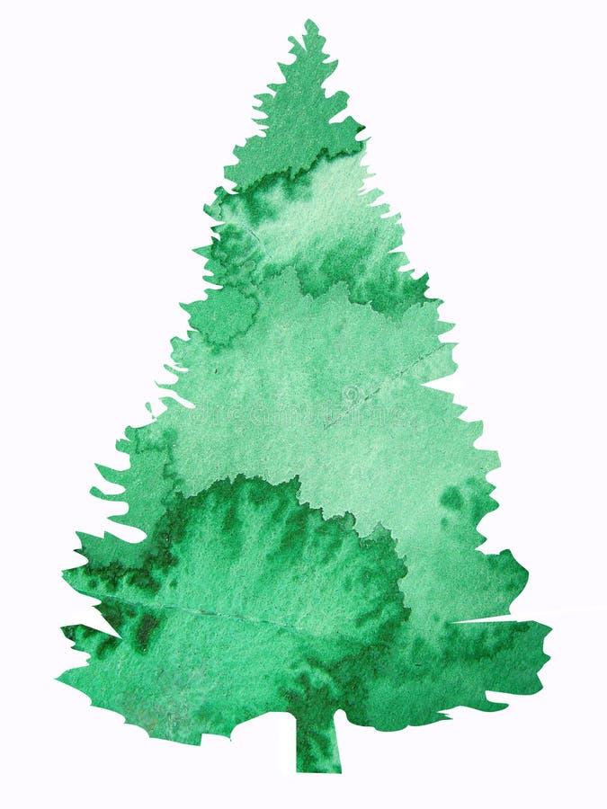 Watercolor tree design stock illustration