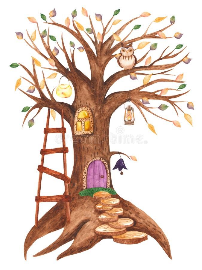 Watercolor tree house for gnomes with lanterns and an owl. vector illustration