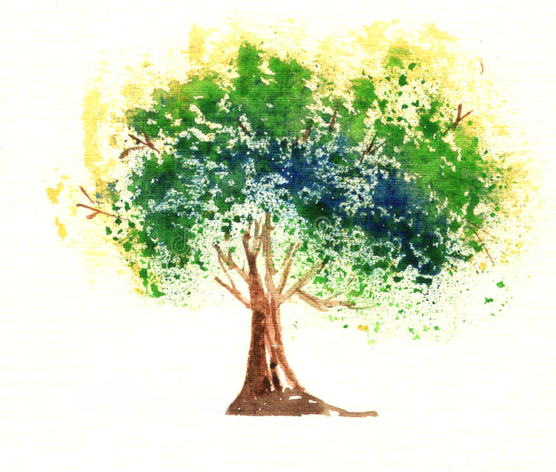 Watercolor tree isolated on white background stock illustration
