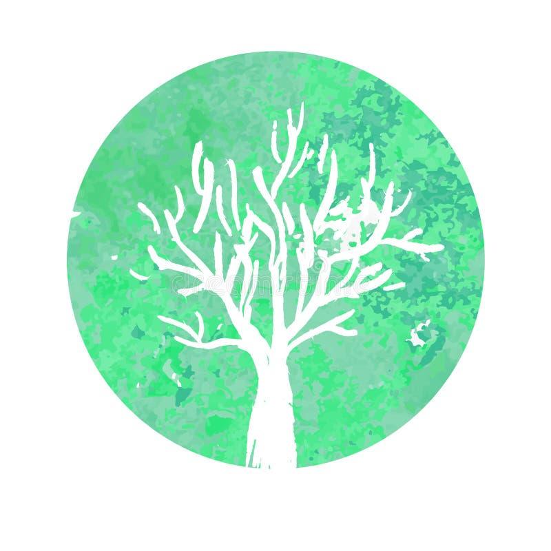 Watercolor Tree Logo Ecological sign symbol royalty free illustration