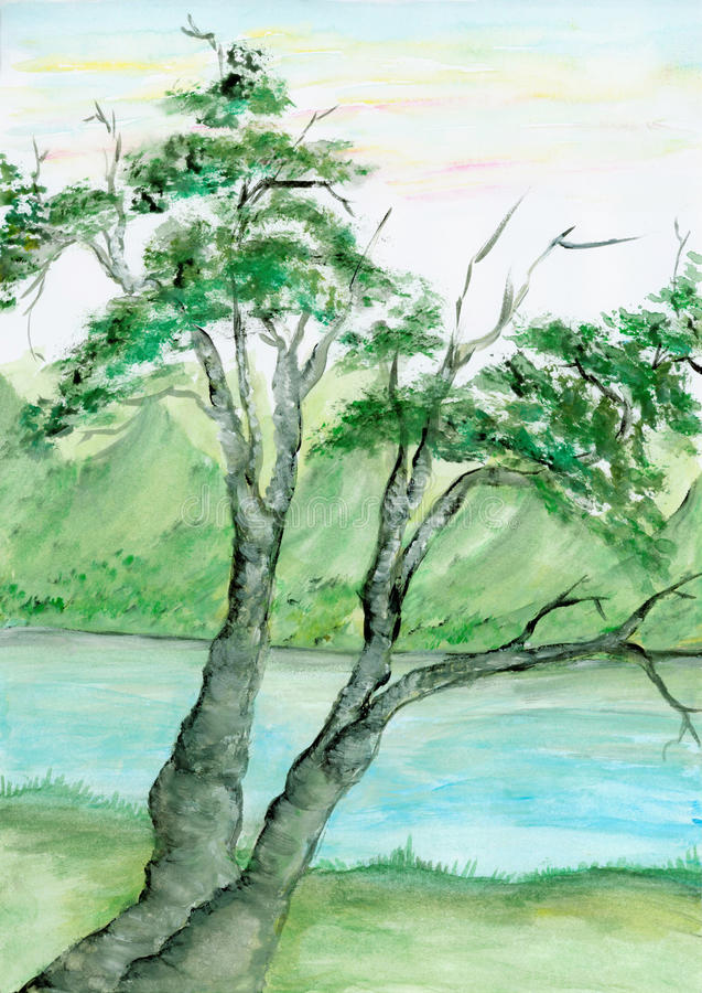 Watercolor Tree And River Royalty Free Stock Image