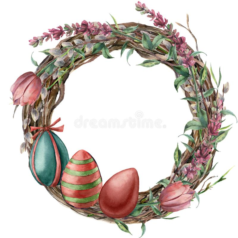 Watercolor tree wreath with easter lavender. Hand painted border with willow, tulip, eggs and tree branch with leaves. Isolated on white background. Easter vector illustration