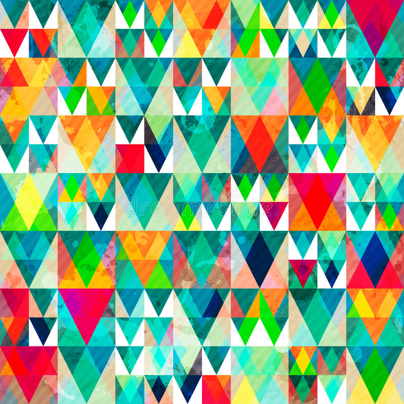 Watercolor triangle seamless pattern with grunge effect stock illustration