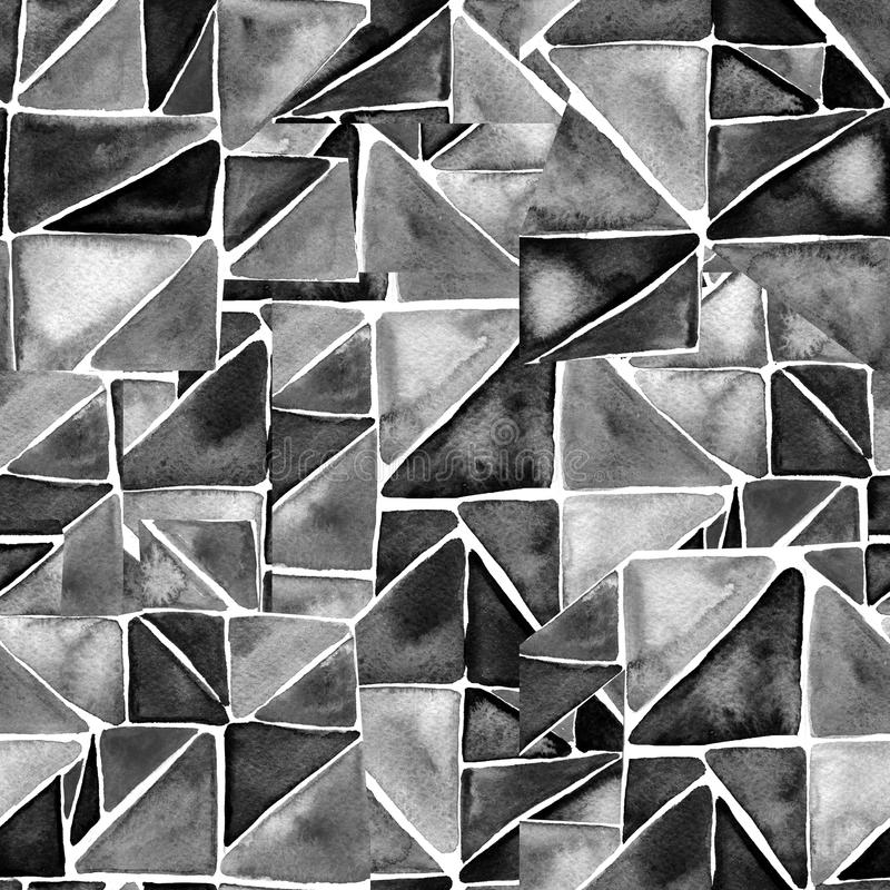 Watercolor triangles seamless pattern. Modern seamless pattern. Black and white texture in geometry template. Grunge stock illustration