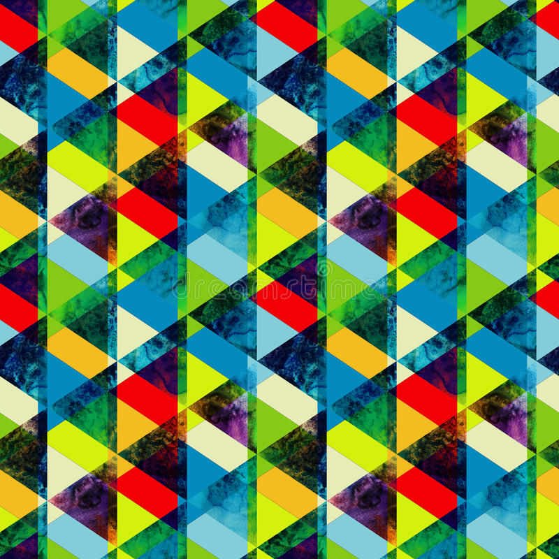Watercolor triangles seamless pattern. Modern hipster seamless p vector illustration