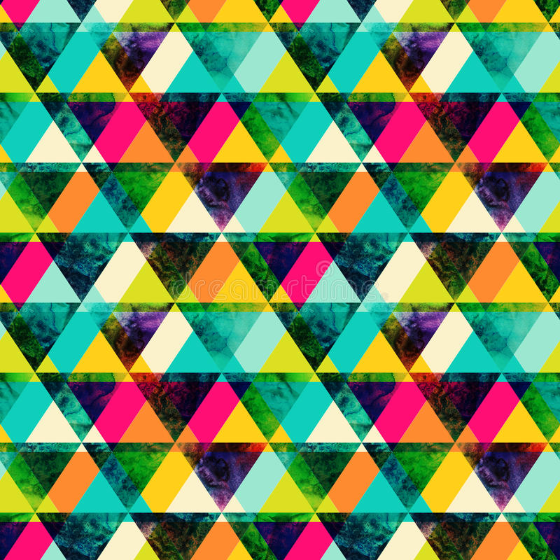 Watercolor triangles seamless pattern. Modern hipster seamless p royalty free illustration