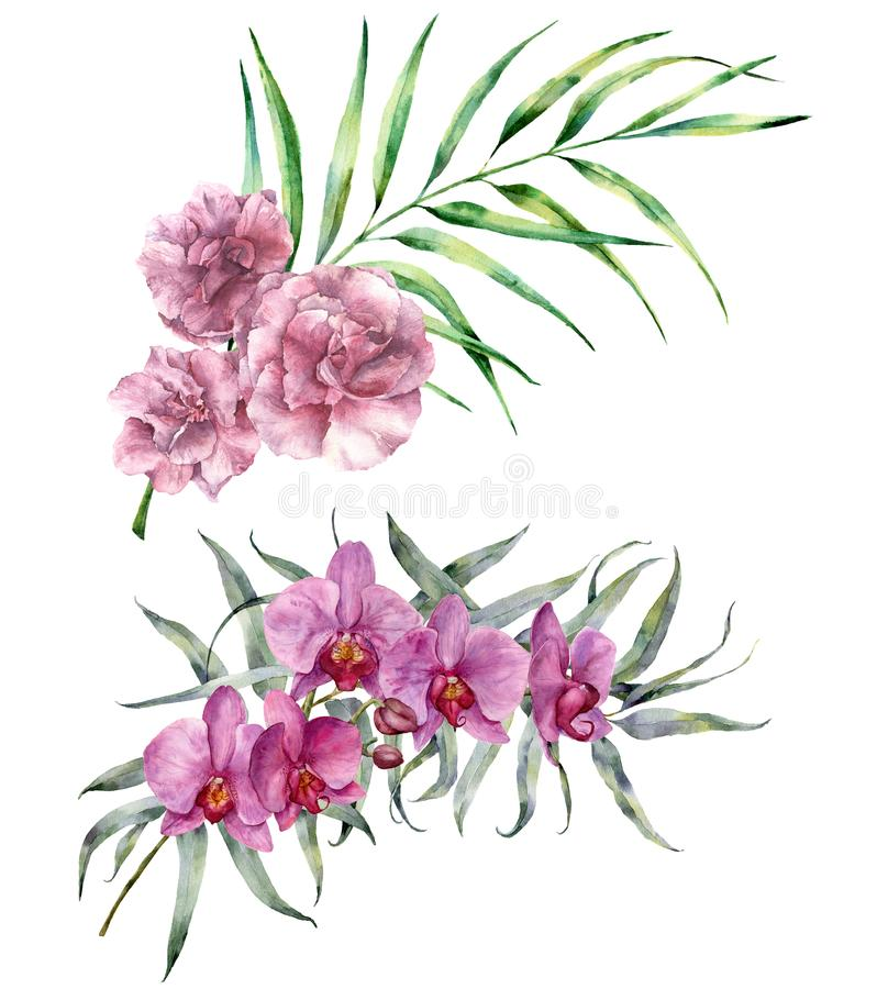 Watercolor tropical bouquet. Hand painted floral branch with eucalyptus and palm leaves, orchids and oleander flowers vector illustration