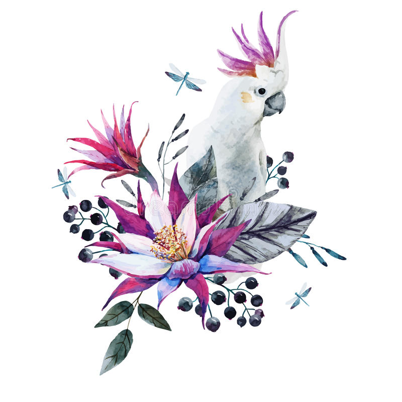 Watercolor tropical composition with white parrot vector illustration