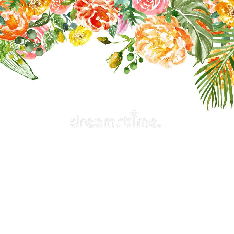 Watercolor tropical floral border with green exotic foliage and colorful flowers on white background, for cards design, wedding stock illustration